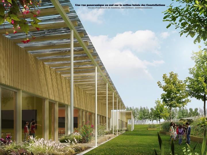 Visite du chantier «modulaire bois» du groupe scolaire Nelson Mandela à Juvignac