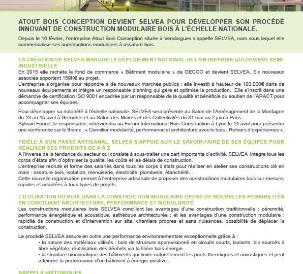 Communiqué de presse – Atout Bois Conception devient SELVEA pour développer son procédé innovant de construction modulaire bois à l'échelle nationale.