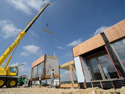 Levage bâtiment modulaire bois